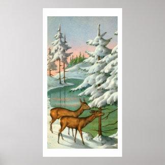 Deer in winter poster
