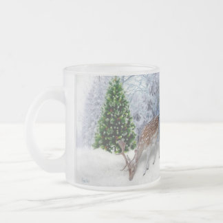 Deer in Winter Snow Frosted Glass Mug