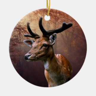 Deer isolated on any background round ceramic decoration