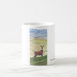 Deer Landscape Painting Basic White Mug