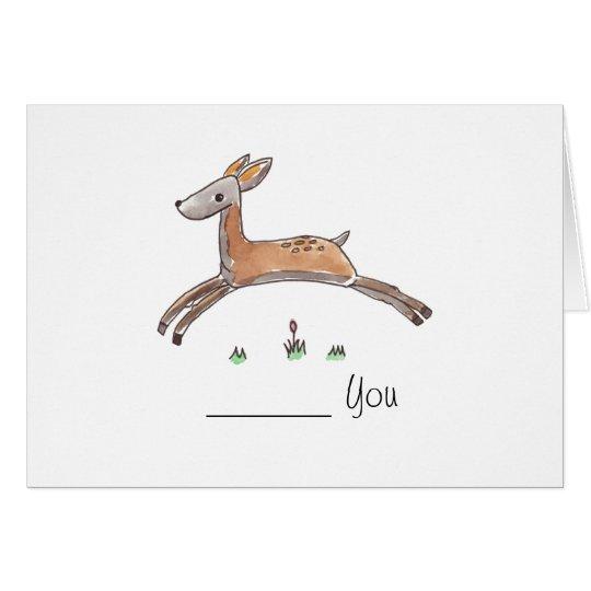 Deer Leaping Greeting Card - Plantinski