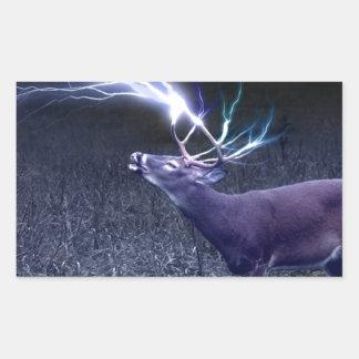 Deer Lightning Rectangular Sticker