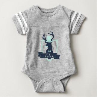 Deer Little Man, Custom, Baby Football Bodysuit