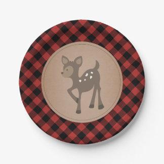 Deer Lumberjack Plaid Baby Shower 7 Inch Paper Plate