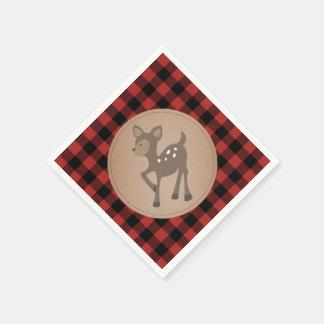 Deer Lumberjack Plaid Baby Shower Napkins Paper Napkin