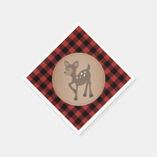 Deer Lumberjack Plaid Baby Shower Napkins Paper Serviettes