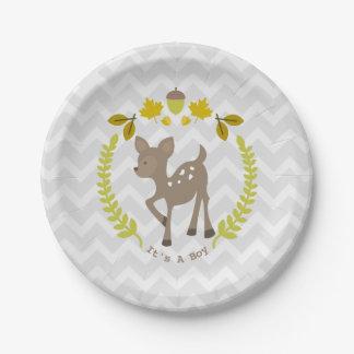 Deer Modern Boy Baby Shower Paper Plate
