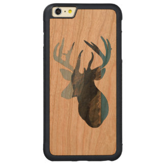 Deer Mountain Silhouette Wood Iphone Case