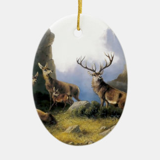 Deer mountains nature wild anomals painting ceramic oval decoration
