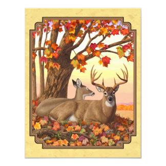 Deer New England Maple Tree Autumn Yellow 11 Cm X 14 Cm Invitation Card