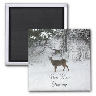 Deer-New Year Greeting Magnet