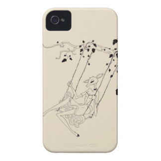 Deer on a swing - cream iPhone 4 cases