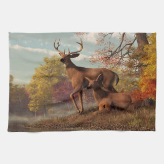 Deer on an Autumn Lakeshore Tea Towel