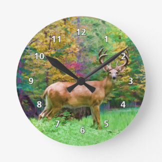 Deer on an Autumn Morning Round Clock