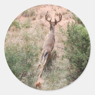 Deer on the Run Round Sticker