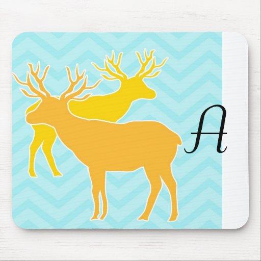 Deer on Zigzag Chevron - Aqua Mouse Pads