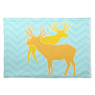 Deer on Zigzag Chevron - Aqua Placemat