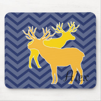 Deer on zigzag chevron - Blue Mouse Pad