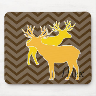Deer on zigzag chevron - Brown Mouse Pad