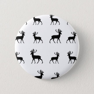 Deer pattern in Black and White 6 Cm Round Badge
