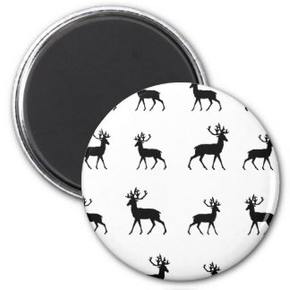 Deer pattern in Black and White Magnet