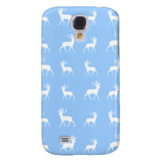 Deer pattern in Blue and White Galaxy S4 Case