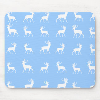 Deer pattern in Blue and White Mouse Pad