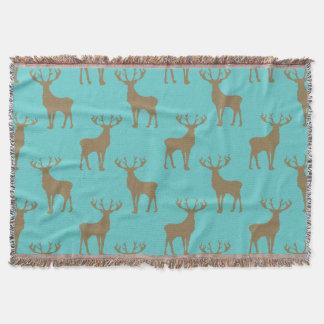 Deer Pattern in Brown on Turquoise