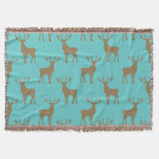 Deer Pattern in Brown on Turquoise Throw Blanket