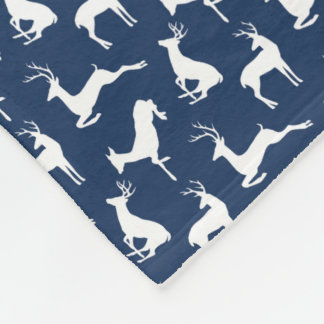 Deer Pattern in Navy Blue and White Fleece Blanket
