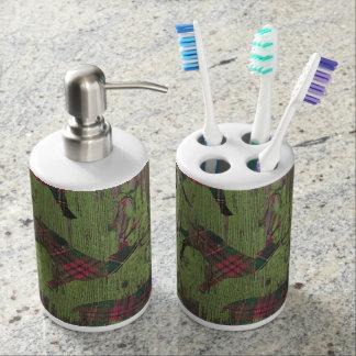 Deer plaid Rustic Holiday Bathroom soap toothbrush Bathroom Set