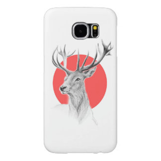 Deer portrait and red circle pencil drawing samsung galaxy s6 cases
