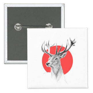 Deer portrait pencil drawing red circle Button