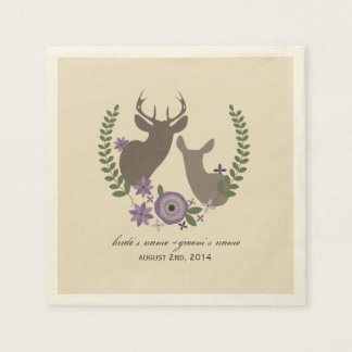 Deer + Purple Floral Wedding Napkins Disposable Serviettes