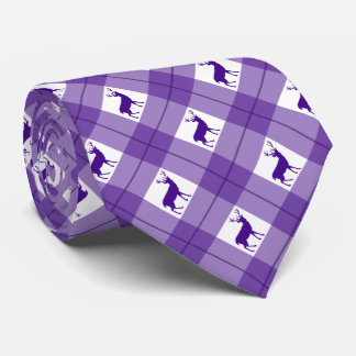 Deer purple plaid tie