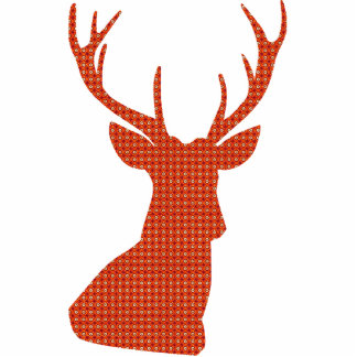 Deer red pattern standing photo sculpture