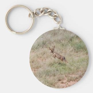 Deer Running Basic Round Button Key Ring
