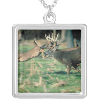 Deer running in forest silver plated necklace