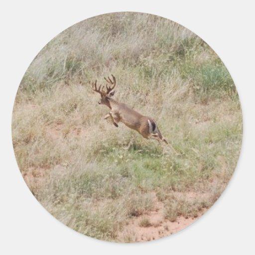 Deer Running Round Sticker