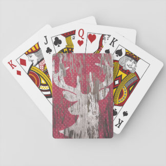 deer Rustic Holiday red white playing cards