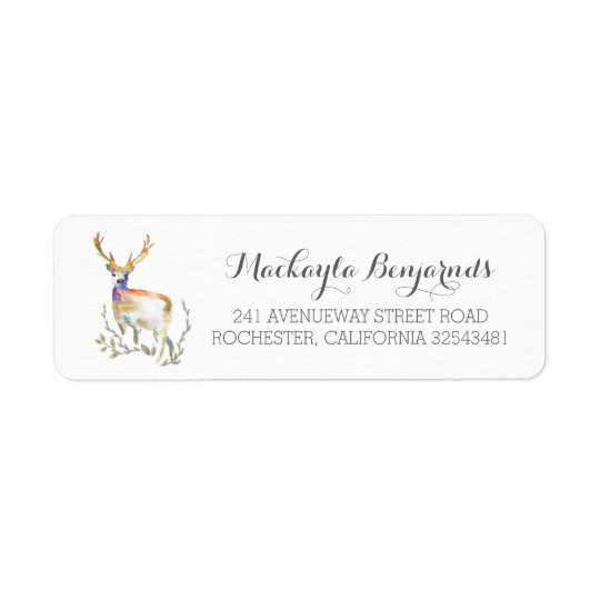 deer rustic wedding return address label