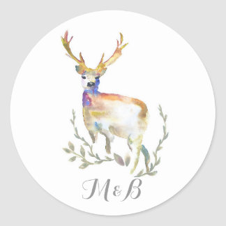 Deer Rustic Woodland Wedding Classic Round Sticker