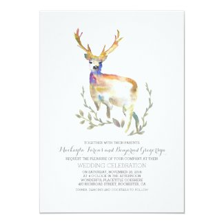 Deer Rustic Woodland Wedding Invitations