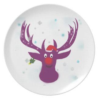 Deer Santa Melamine Plate