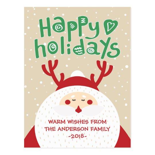Deer Santa Merry Christmas Happy New Year Greeting