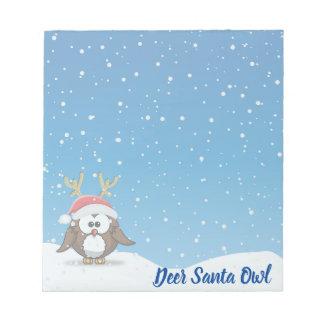Deer Santa Owl Notepad
