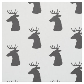 Deer Silhouette Buck With Antlers Fabric