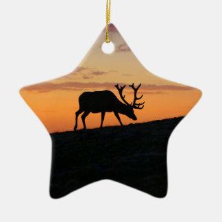 Deer silhouette ceramic star decoration