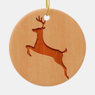 Deer silhouette engraved on wood design christmas ornament
