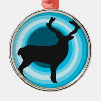 Deer silhouette holiday round ornament
